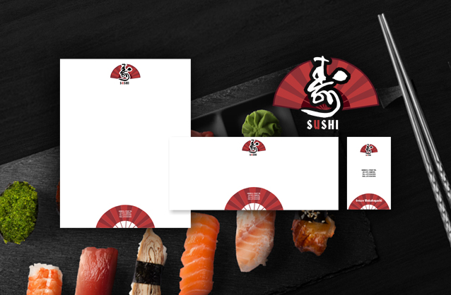 Sushi bar logo design, Folding fan logo